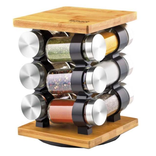Set recipiente pentru condimente Lamart, 13 piese, suport bambus thumbnail
