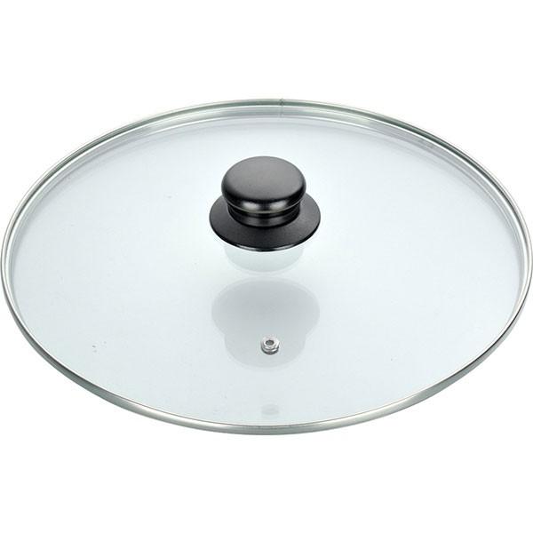 Capac din sticla termorezistenta, diametru 24 cm, maner ebonita thumbnail
