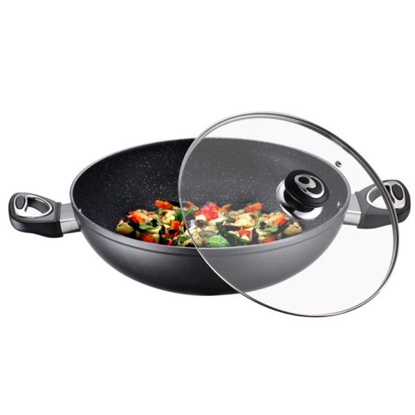 Cratita wok cu interior din marmura Peterhof, diametru 30 cm, capac, inductie thumbnail