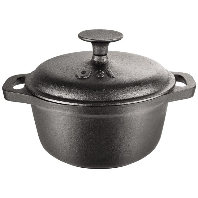 Ceaun (tuci) din fonta pura, capacitate 1.5 litri, diametru 18 cm, capac fonta, manere fonta, inductie thumbnail