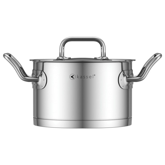 Oala inox Kassel, diametru 20 cm, capacitate 3.5 litri, capac, inductie, seria Pro Chef thumbnail