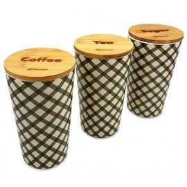 Set 3 recipiente depozitare Kassel, capac bambus, corp melamina