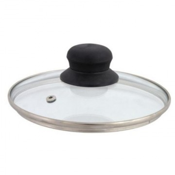 Capac din sticla termorezistenta Domotti, diametru 28 cm, maner ebonita