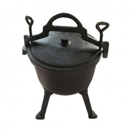 Ceaun din fonta pura KingHoff, capacitate 8 litri, diametru 32 cm, interior emailat, capac fonta