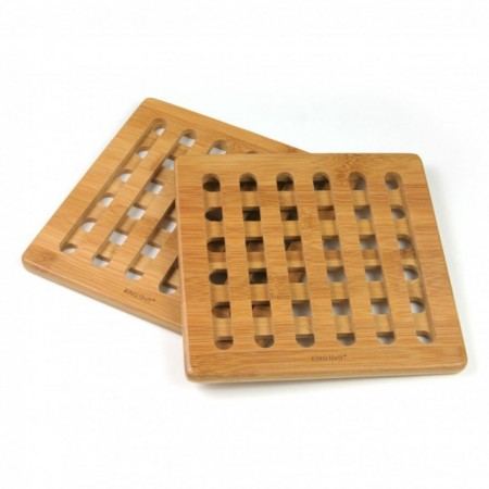 Set 2 suporturi pentru vase fierbinti KingHoff KH-1216, material bambus, forma patrata