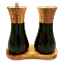 Set solnita si rasnita pentru sare si piper Kassel, lemn de salcam, mecanism ceramica