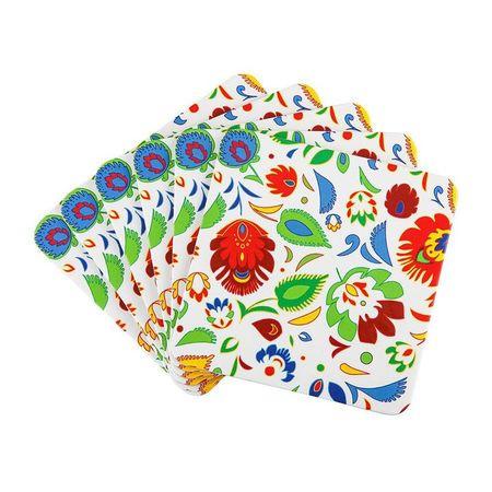 Set suport pahare 10x10cm 6 piese flori Folk