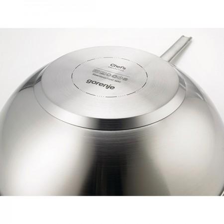 Tigaie wok cu interior anti-aderent Gorenje, diametru 30 cm, otel inoxidabil, argintiu