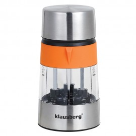 Rasnita 3 in 1 pentru sare si piper, condimente Klausberg, 3 compartimente, portocaliu