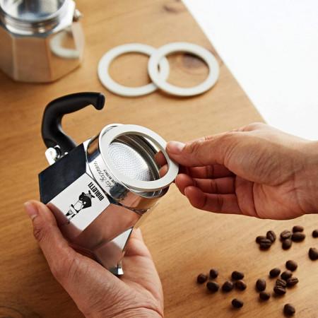 Set 3 garnituri+sita pentru espressor aragaz Bialetti, marime 2 cupe pentru Moka Express, Dama, Break, Moka Elettrika si Mini Express