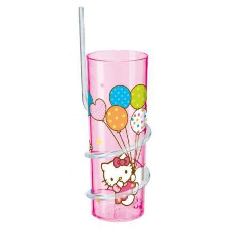 Pahar cu pai 325ml Hello Kitty
