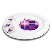 Platou pentru aperitive Nava, portelan, diametru 35,3 cm, seria Carreaux