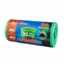 Saci menaj SOLID 35 l. XL, verde, 50x70 cm., 50 buc./rola