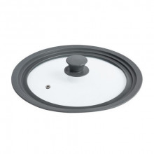 Capac universal pentru oale si tigai, diametru 24-28 cm, sticla/silicon