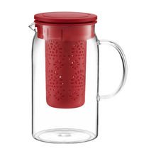Carafa cu infuzor, capacitate 1400 ml, sticla termorezistenta, culoare rosu, Colectia Nordic
