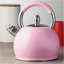 Ceainic din inox cu fluier Creamy, capacitate 2.3 litri, roz, inductie