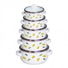 Set de craticioare emailate Vanora Home Festa, 10 piese, capace, inductie, Model Lime
