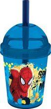 Pahar cu pai albastru Spiderman