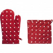 Set manusa + suport pentru oale, material bumbac, model cu puncte, culoare rosu