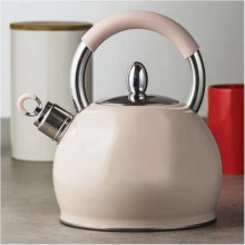 Ceainic din inox cu fluier Creamy, capacitate 2.3 litri, crem, inductie