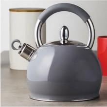 Ceainic din inox cu fluier Creamy, capacitate 2.3 litri, gri, inductie