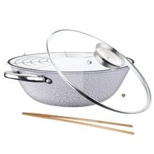 Cratita wok din fonta cu interior emailat Peterhof, diametru 30 cm, capac, inductie