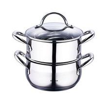 Oala inox Bergner pentru fiert cu aburi, capacitate 2.2 litri, inductie, capac, seria Gourmet