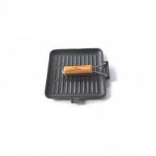 Tigaie grill din fonta pura Perfect Home, diametru 24 cm, maner lemn, inductie