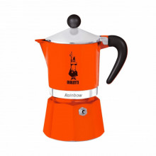 Espressor pentru aragaz Bialetti, capacitate 3 cupe, Seria Rainbow, portocaliu