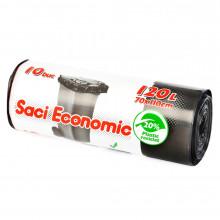 Saci menaj ECONOMIC, 120 l., negru, 70x110 cm., 10 buc./rola