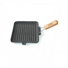 Tigaie grill din fonta pura Perfect Home, diametru 24 cm, maner rabatabil, inductie