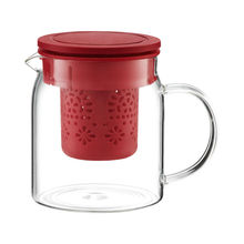 Carafa cu infuzor, capacitate 800 ml, sticla termorezistenta, culoare rosu, Colectia Nordic