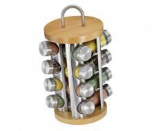 Stand cu recipiente pentru condimente Kuchenprofi, 17 piese, suport rotativ, natur