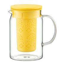 Carafa cu infuzor, capacitate 1000 ml, sticla termorezistenta, culoare galben, Colectia Nordic