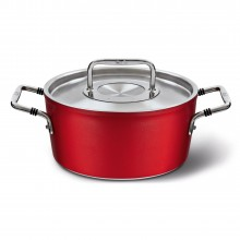 Cratita cu interior anti-aderent Fissler, diametru 24 cm, inductie, capac inox, manere inox, seria Luno Red