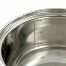 Oala inox Klausberg, diametru 16 cm, capacitate 1,7 litri, capac, inductie