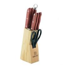 Set de cutite cu lama inox si suport din lemn KingHoff, 8 piese