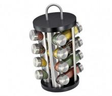 Stand cu recipiente pentru condimente Kuchenprofi, 17 piese, suport rotativ, negru
