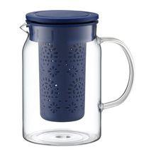 Carafa cu infuzor, capacitate 1000 ml, sticla termorezistenta, culoare albastru, Colectia Nordic
