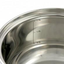Oala inox Klausberg, diametru 20 cm, capacitate 3,4 litri, capac, inductie