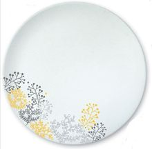 Farfurie intinsa, motive florale, material portelan, diametru 25 cm, Colectia Nordic