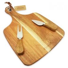 Set tocator si cutite pentru branzeturi Kassel, lemn de salcam, lama inox