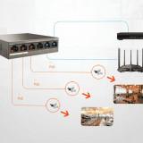 Switch POE , 6 porturi Fast Ethernet, 4 x PoE, 2 x Uplink