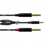 Cablu jack 3.5mm stereo T - 2xjack 6.3mm T Cordial 1.5M