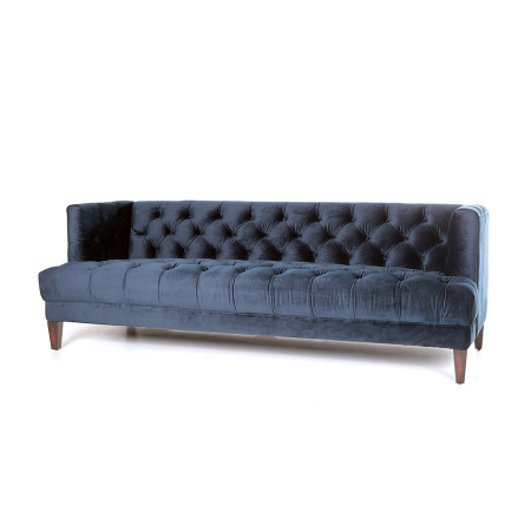 Canapea din catifea Caro, 3 locuri, albastru