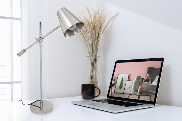 Lampa de birou din otel/alama/fier Celeste, argintie, un bec