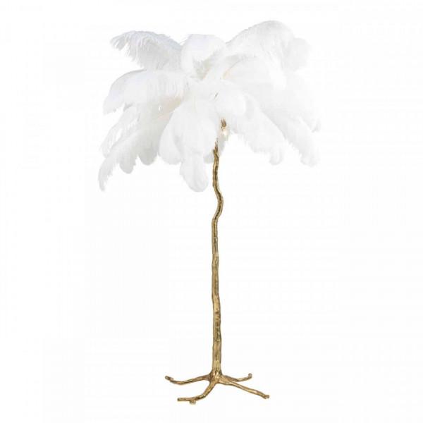 Lampadar din cupru/pene Burlesque alb, un bec