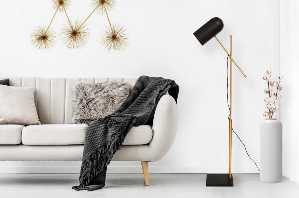 Lampadar din fier/alama/marmura Celeste, negru/auriu, un bec