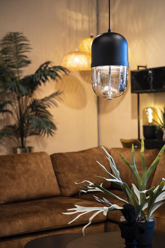 Lustra din fier/sticla Maverick pendant lamp neagra, un bec