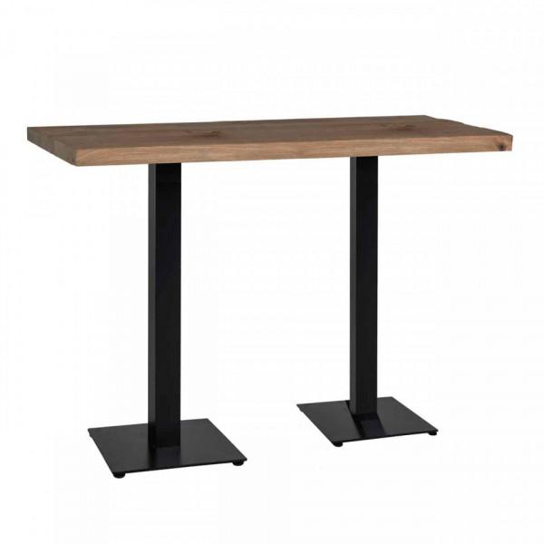 Masa de bar dreptunghiulara din lemn de stejar Gastronomy 110x120x80 cm maro inchis